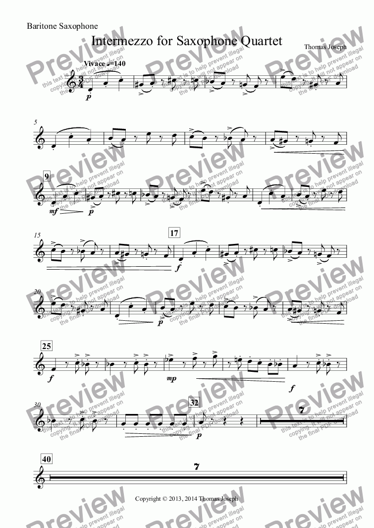 page one of the Baritone Saxophone part from Intermezzo for Saxophone Quartet