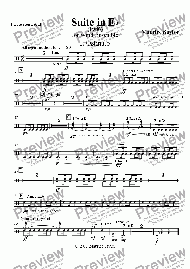 page one of the Percussion 1 & 2 part from Suite in Eb (1986)