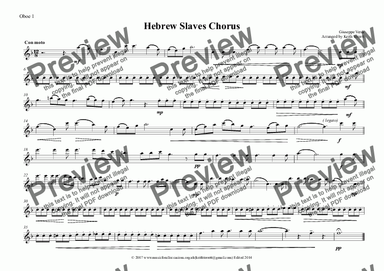 page one of the Oboe 1 part from Slaves Chorus from Nabucco for Oboe Quintet