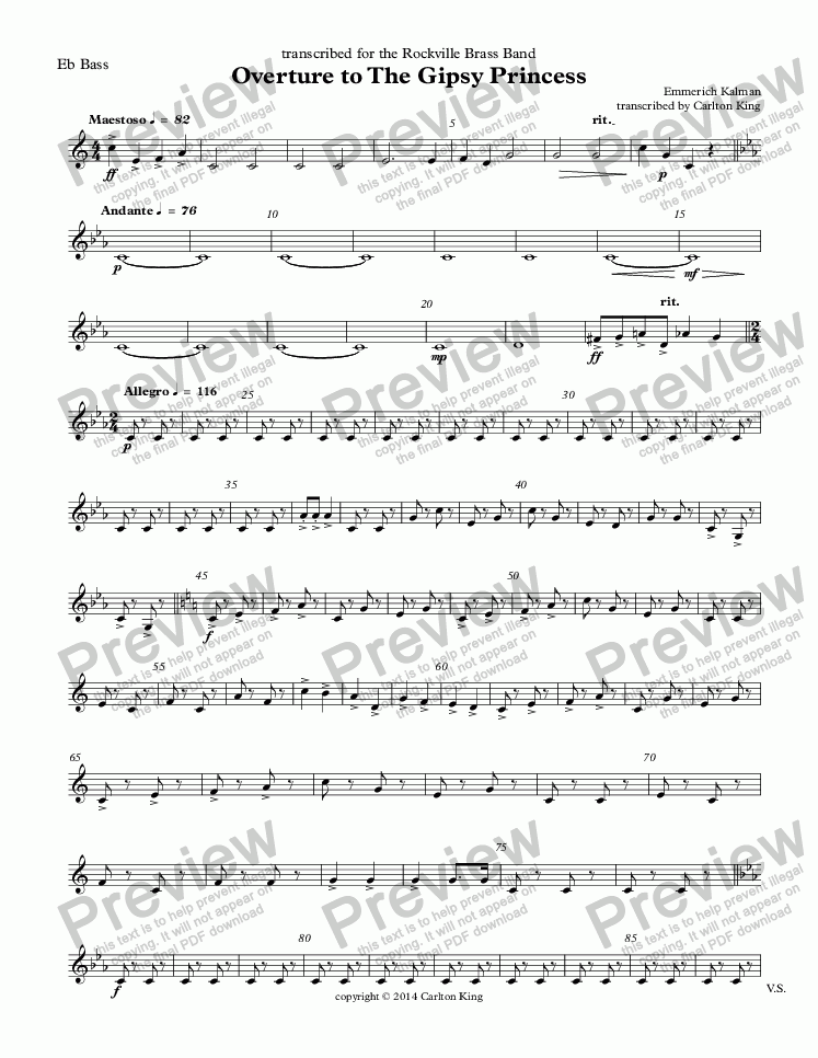 page one of the Eb Bass part from Overture to The Gipsy Princess  (10-piece)