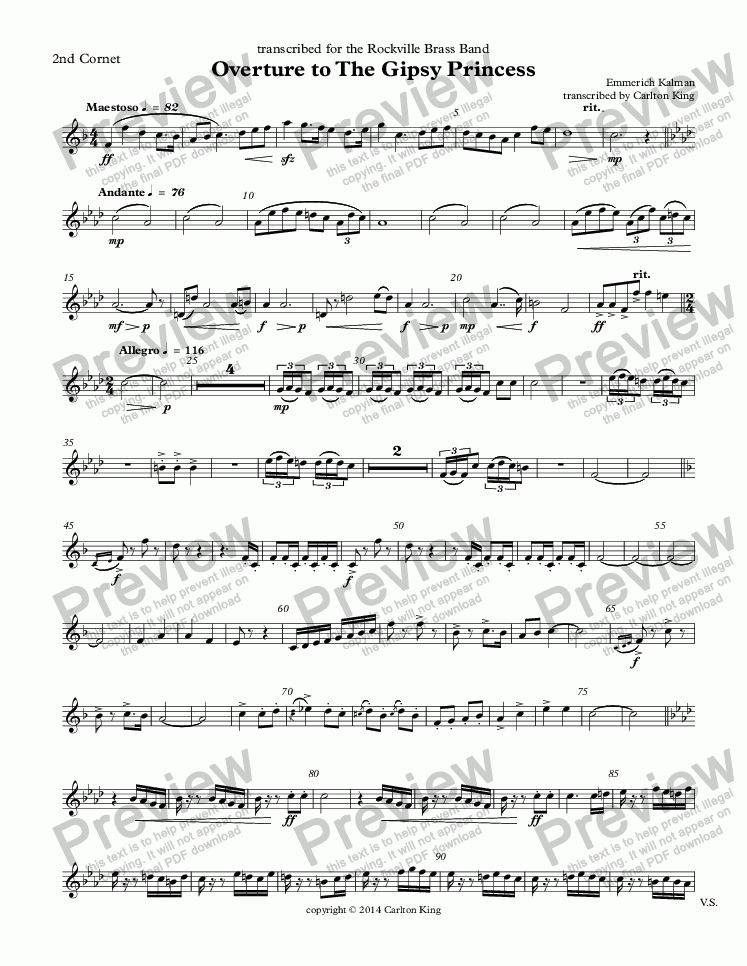 page one of the 2nd Cornet part from Overture to The Gipsy Princess  (10-piece)