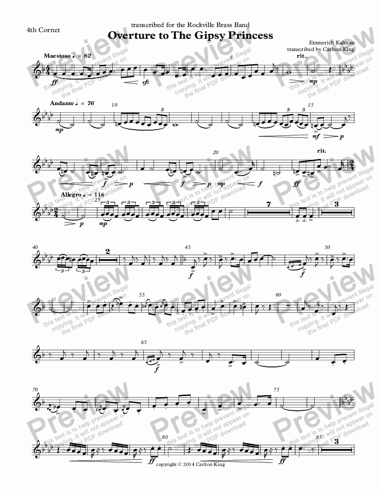 page one of the 4th Cornet part from Overture to The Gipsy Princess  (10-piece)