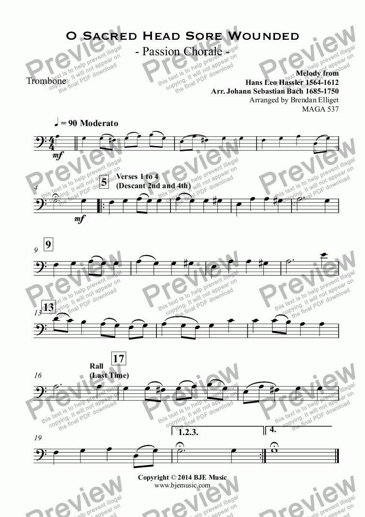page one of the Trombone part from O Sacred Head Sore Wounded   - Passion Chorale