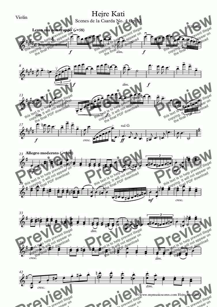 page one of the Violin part from Hubay Hejre Kati for Violin and Piano