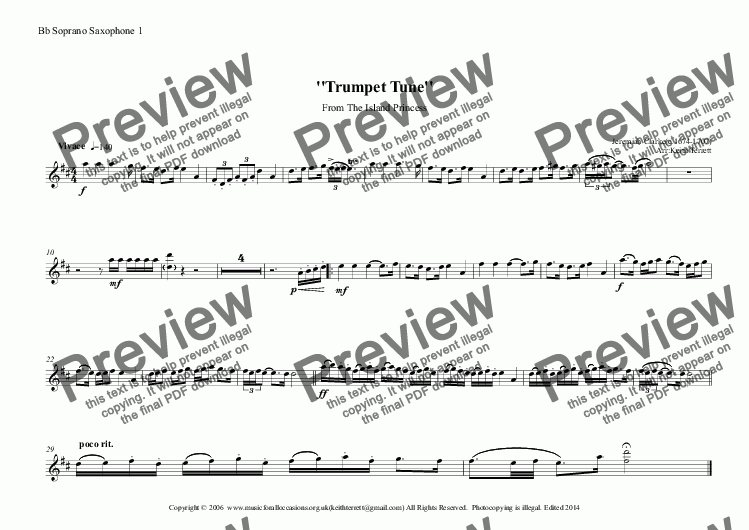 page one of the Bb Soprano Saxophone 1 part from Trumpet Tune from the Island Princess for Saxophone Quintet