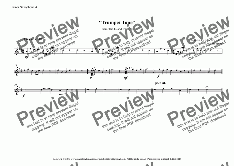 page one of the Tenor Saxophone 4 part from Trumpet Tune from the Island Princess for Saxophone Quintet