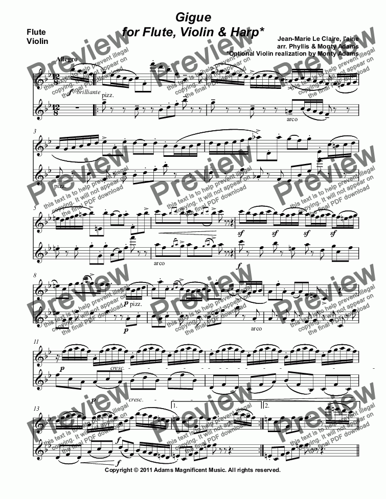 page one of the Flute, Violin part from Gigue for Flute, Violin & Harp by Le Claire