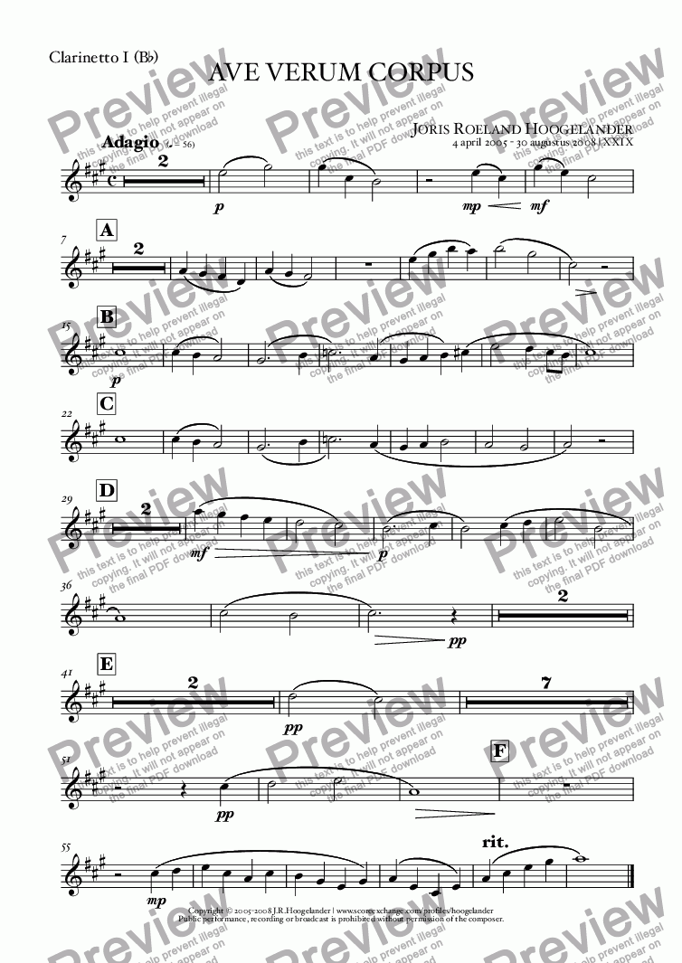 page one of the Clarinetto I (B^b) part from Ave verum corpus