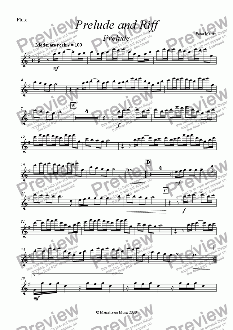 page one of the Flute part from Prelude & Riff