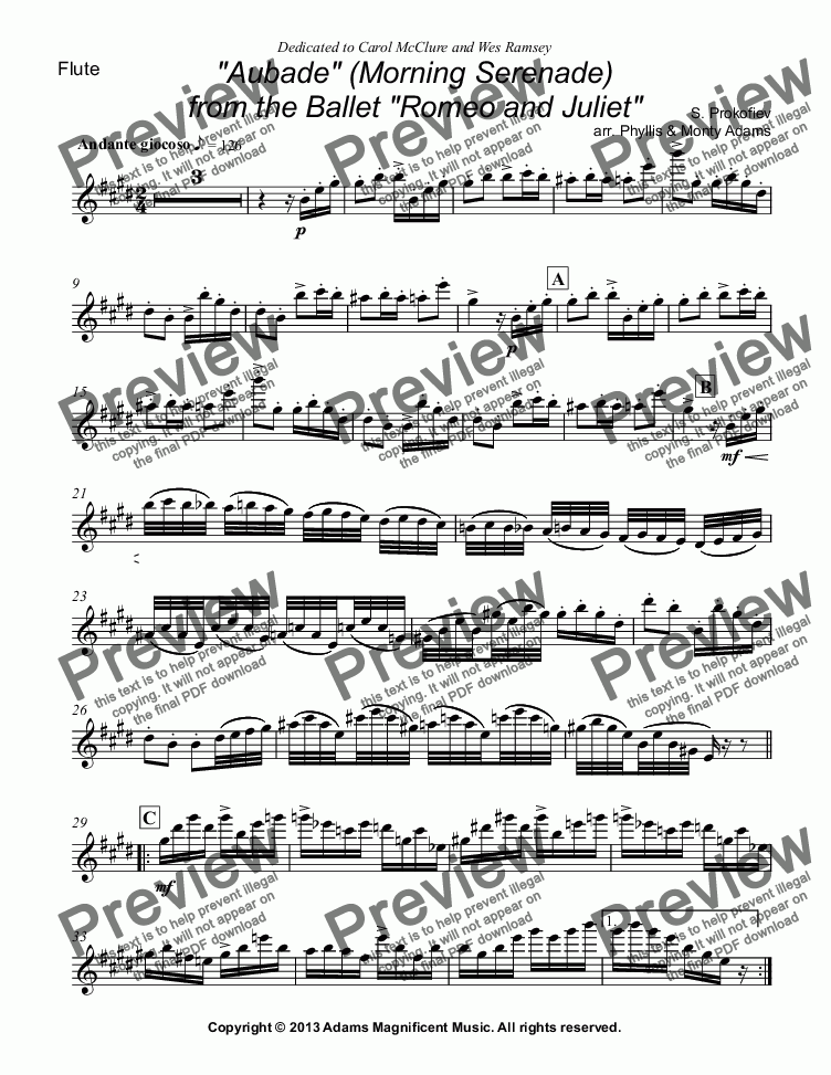 "page one of the Flute part from Aubade from""Romeo and Juliet"" for Flute & Harp or Piano"