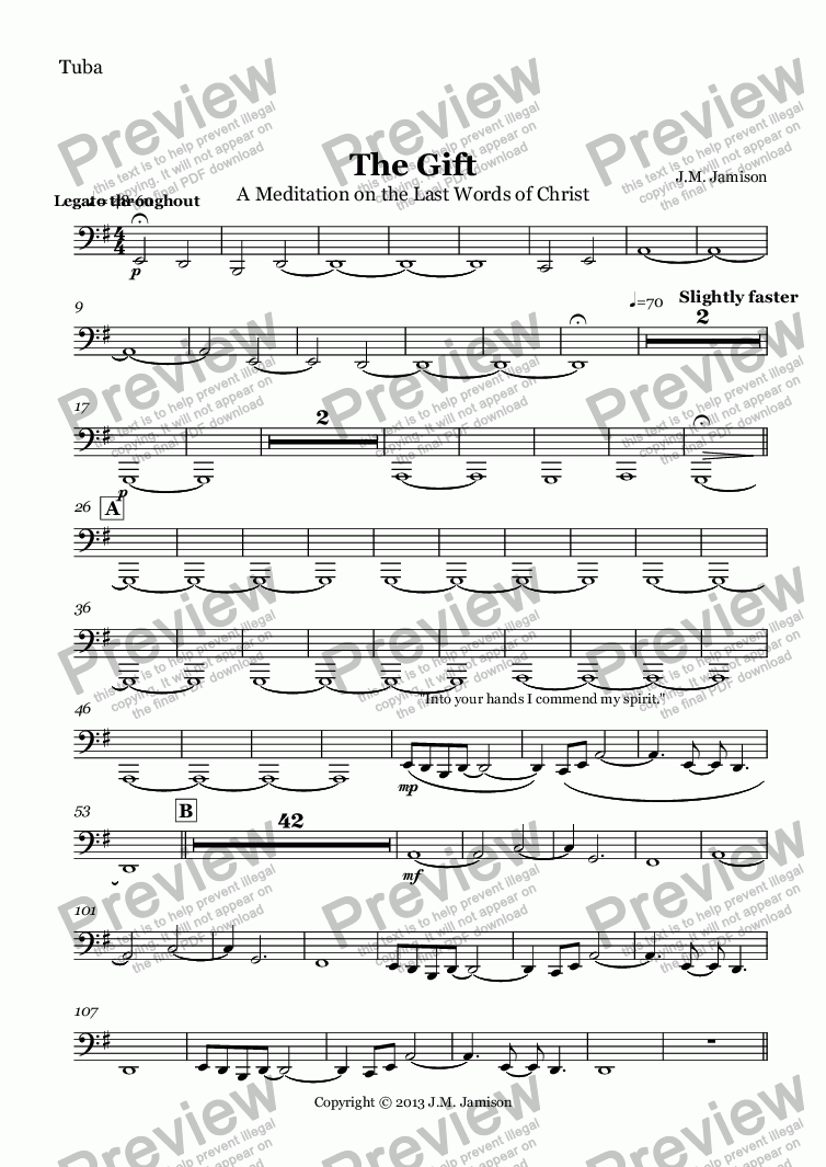 page one of the Tuba part from The Gift (A Meditation on the Last Seven Words of Christ) (brass)