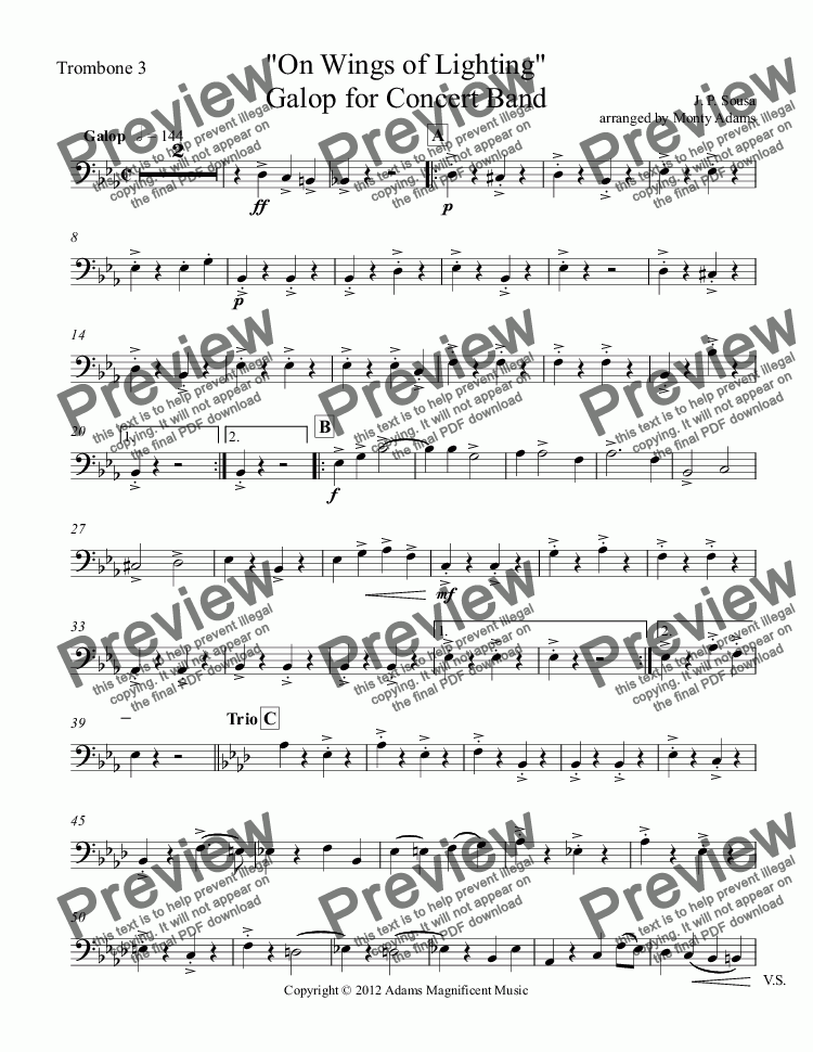 "page one of the Trombone 3 part from ""On Wings of Lighting"" Galop for Concert Band"
