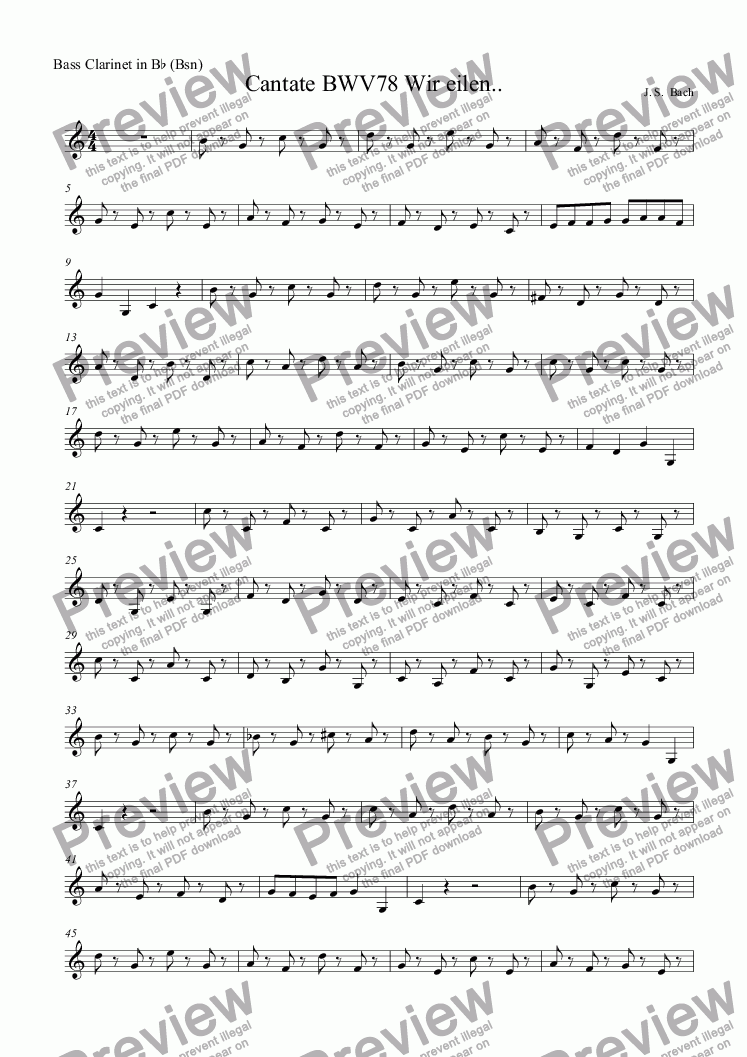 page one of the Bass Clarinet in B^b (Bsn) part from Cantate BWV78 Wir eilen..
