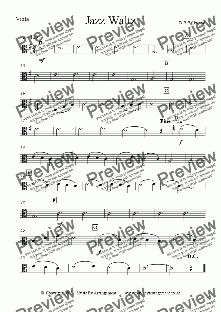 page one of the Viola part from Jazz Waltz