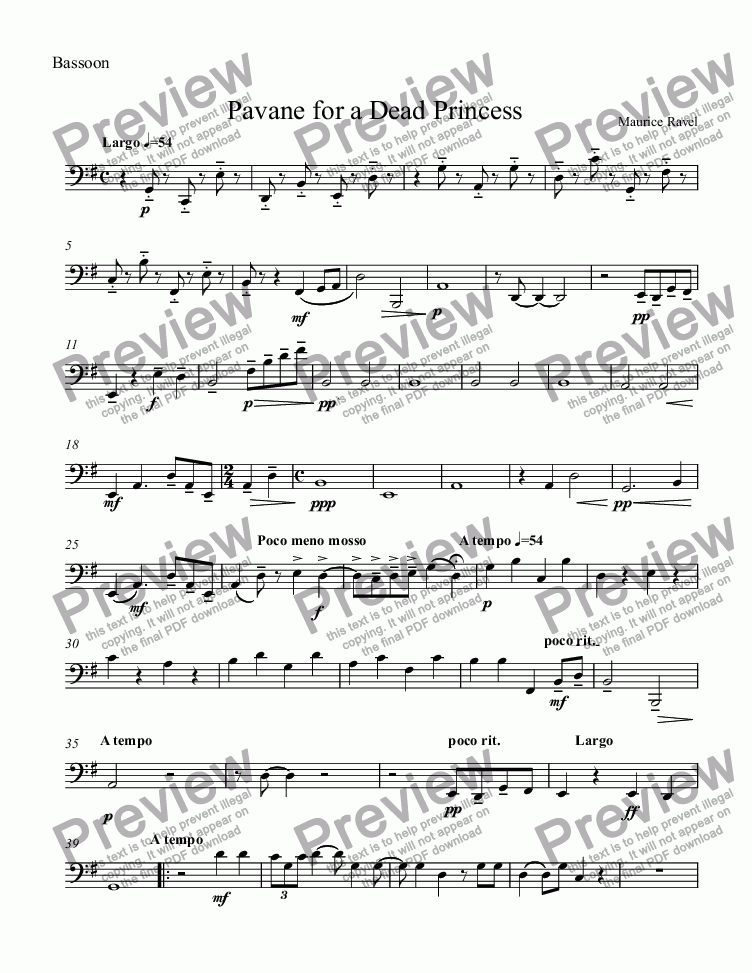 page one of the Bassoon part from Pavane for a Dead Princess (Fl,Ob,Cl,Hrn,Bsn)