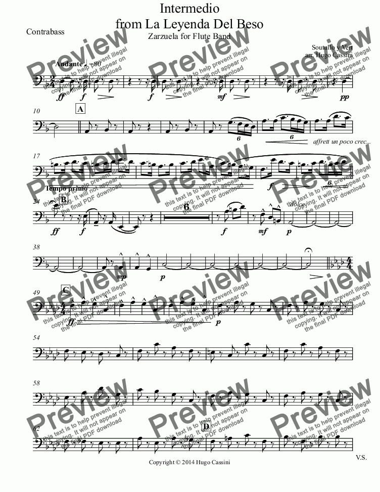 page one of the Contrabass part from Intermedio from La Leyenda Del Beso for Flute Choir