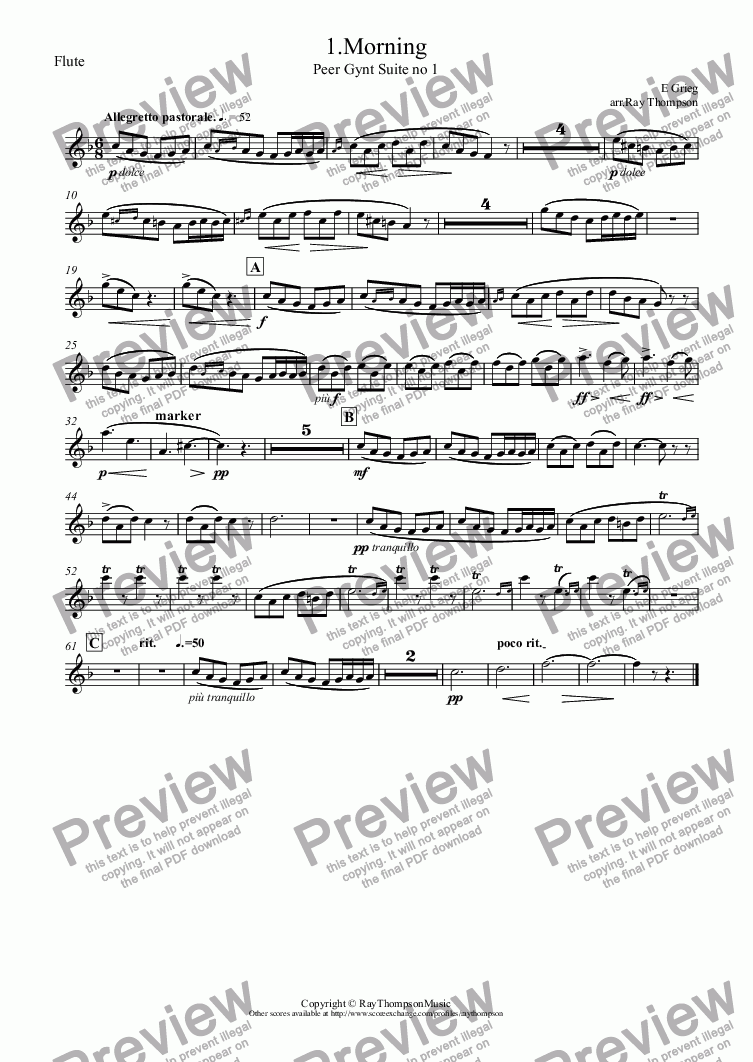 page one of the Flute part from Grieg: Morning (Morgenstimmung) (Peer Gynt Suite no 1)(easier abridged version) arranged flute and piano