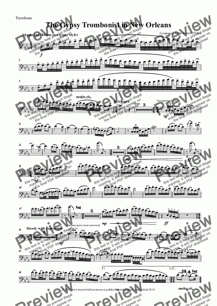 page one of the Trombone part from The Gypsy Trombonist in New Orleans (Pro version)