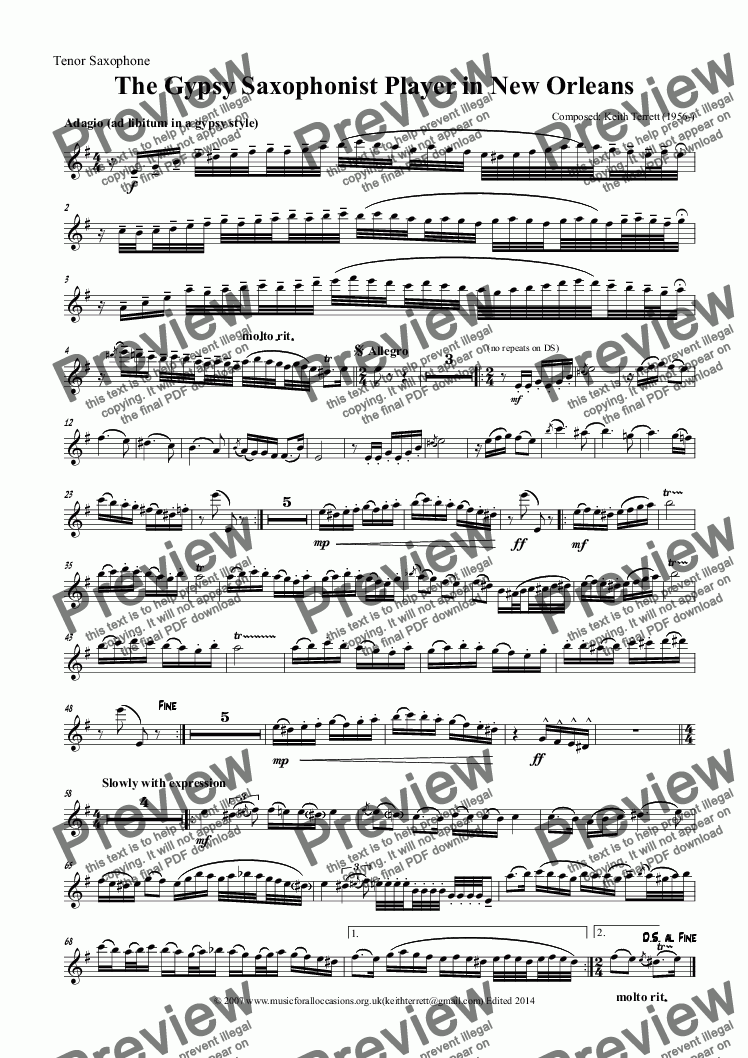 page one of the Tenor Saxophone part from The Gypsy Tenor Saxophonist in New Orleans