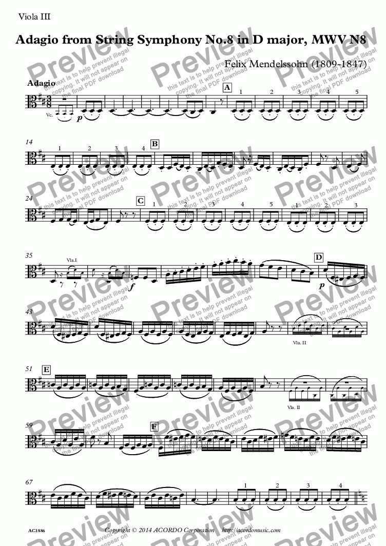 page one of the Viola III part from Adagio from String Symphony No.8 in D major, MWV N8