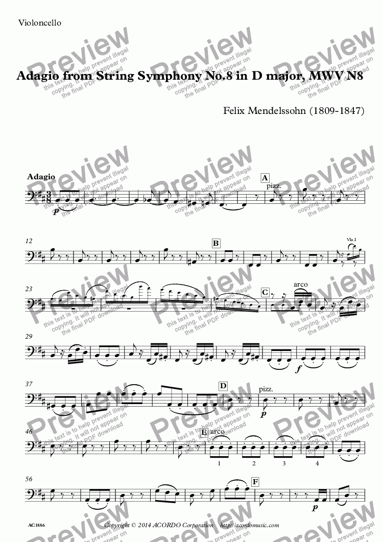 page one of the Violoncello part from Adagio from String Symphony No.8 in D major, MWV N8