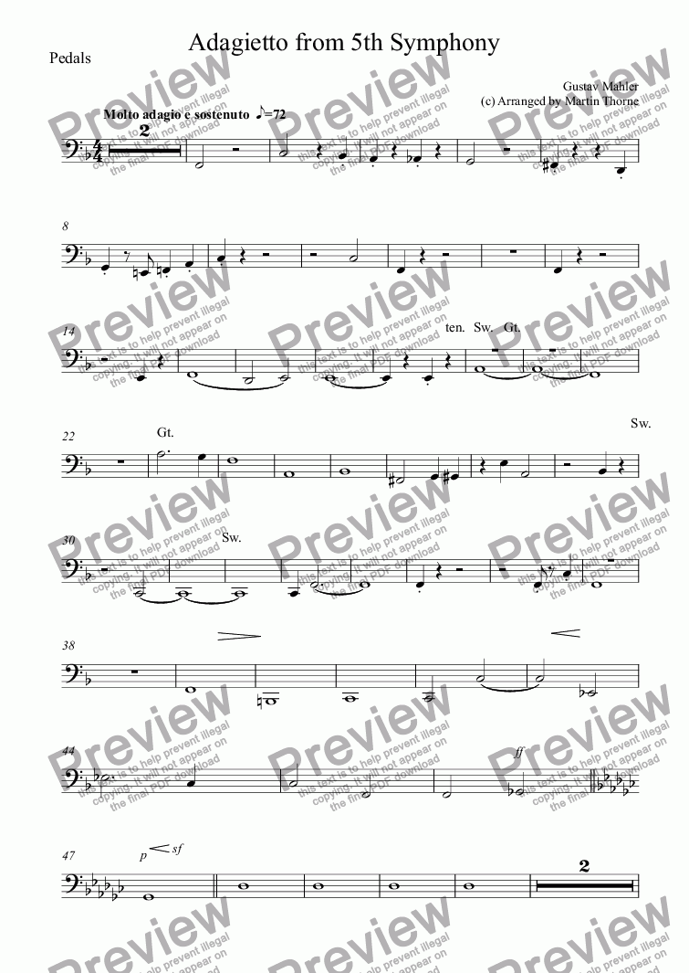 page one of the Pedals part from Adagietto from 5th Symphony