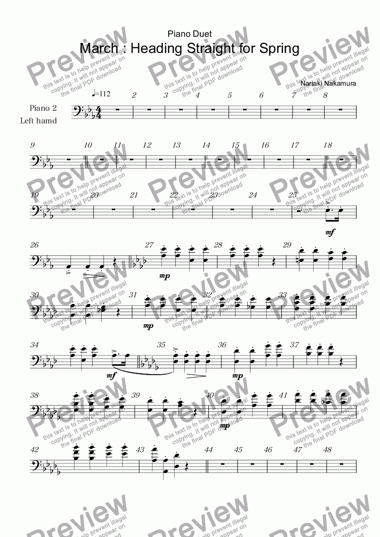 page one of the Piano 2 Left hamd part from Piano Duet March : Heading Straight for Spring