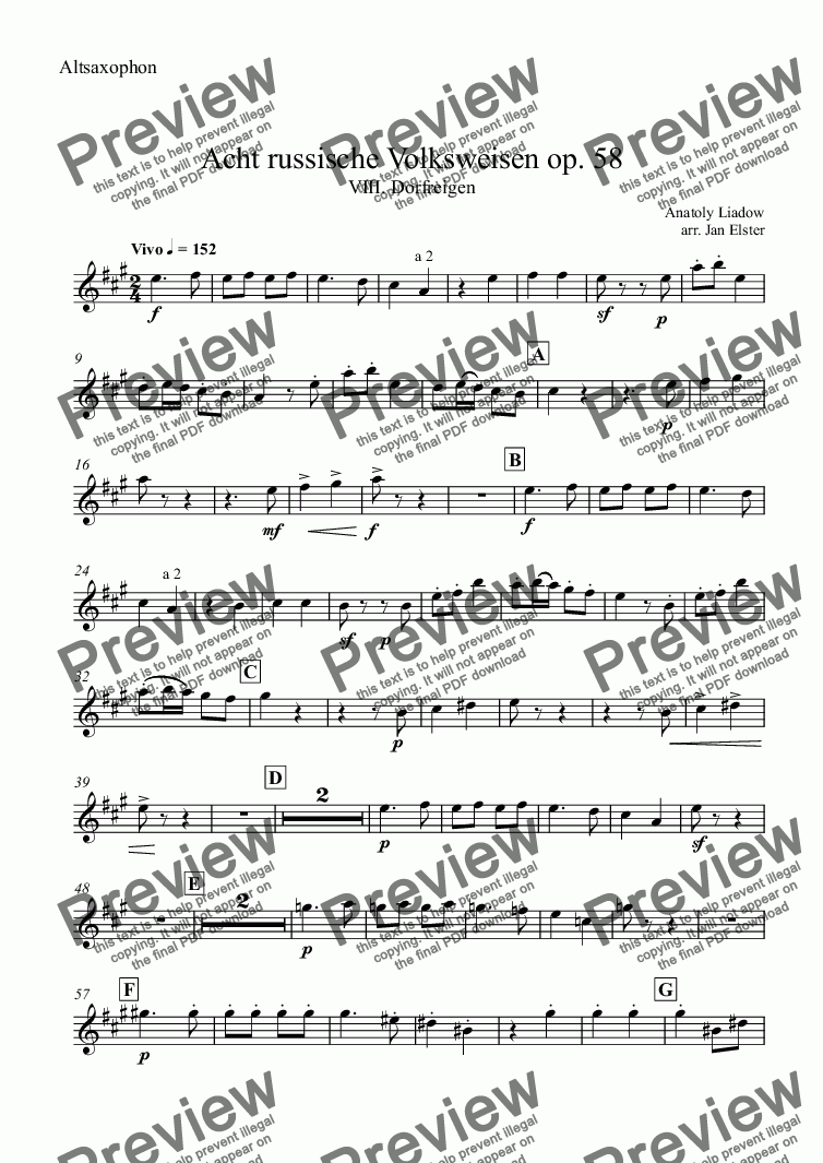 page one of the Altsaxophon part from Eight Russian Folksongs op. 58 - No. VIII