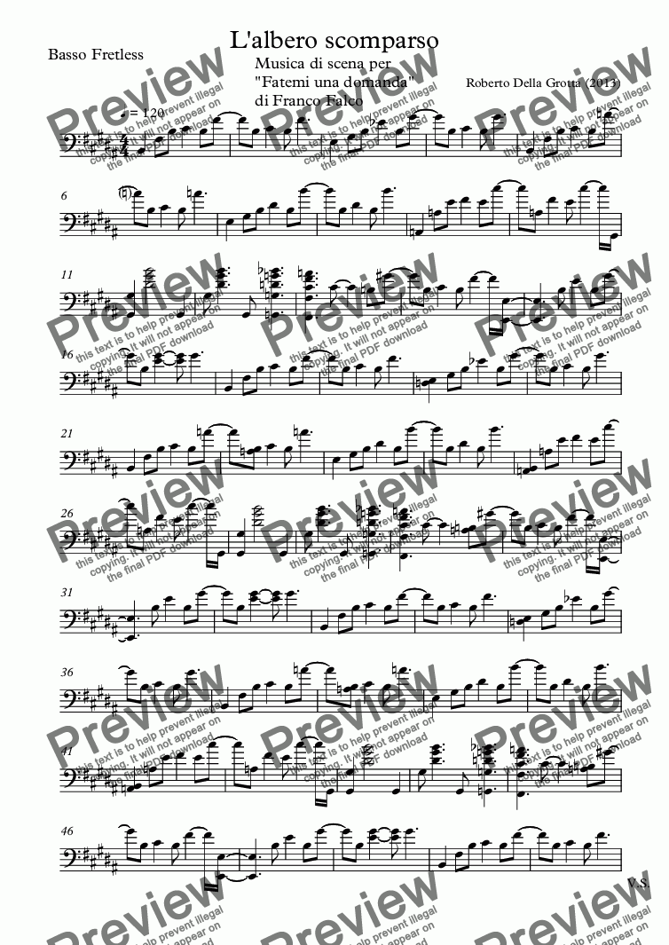 page one of the Basso Fretless part from L'albero scomparso