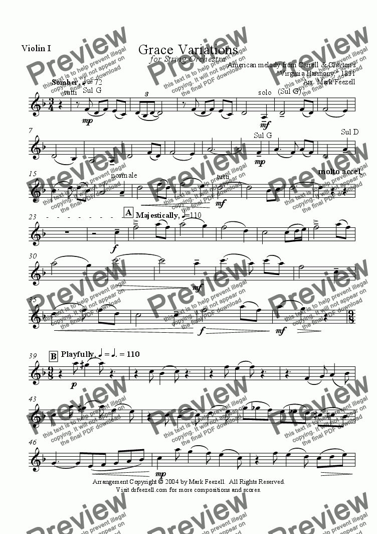 page one of the Violin I part from Amazing Grace Variations - Arrangement for string orchestra (2004)
