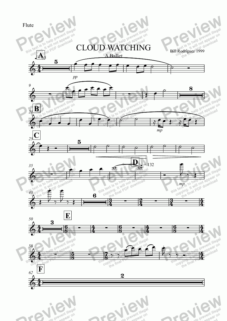 page one of the Flute part from CLOUD WATCHING