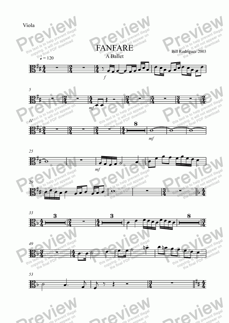 page one of the Viola part from FANFARE