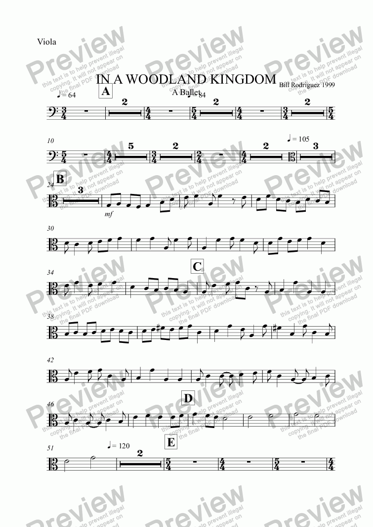 page one of the Viola part from IN A WOODLAND KINGDOM