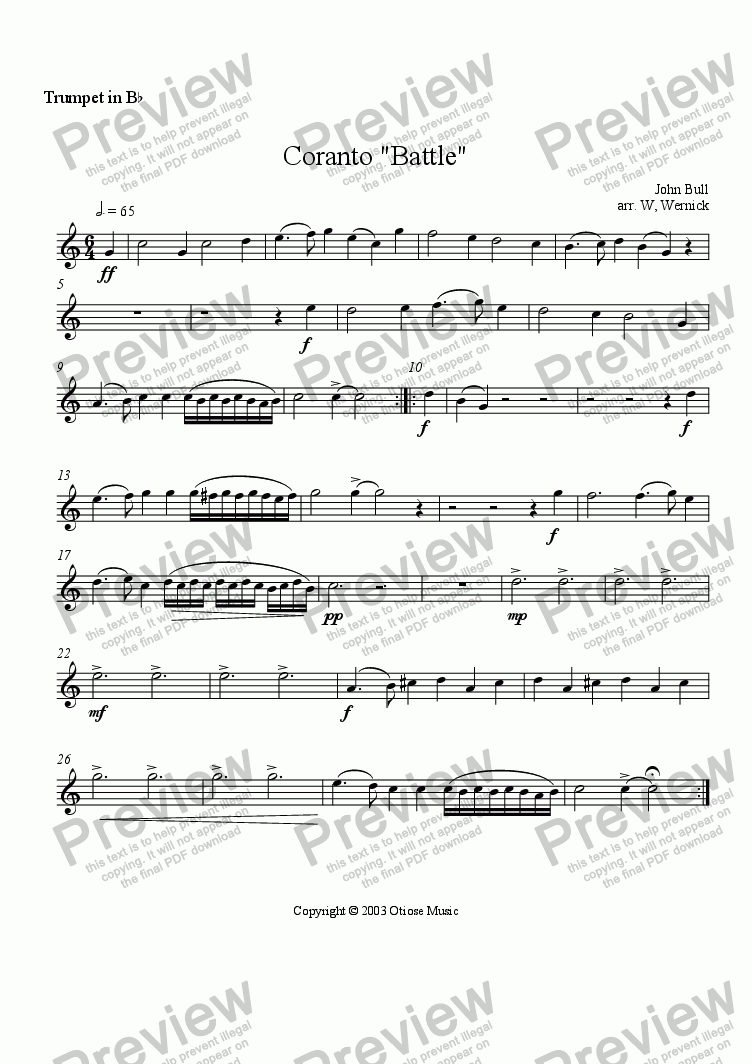 "page one of the 1. Trumpet ""Coranto ""Battle"" part from Coranto  ""Battle"""