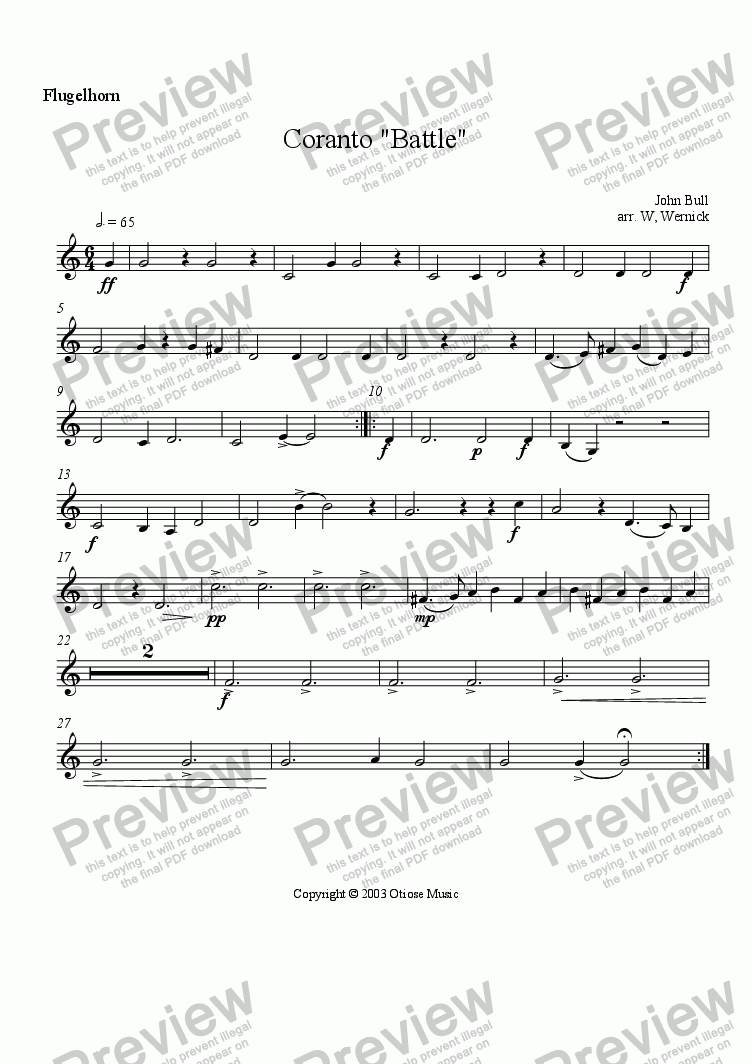 "page one of the 3. Flugelhorn ""Coranto Battle"" part from Coranto  ""Battle"""