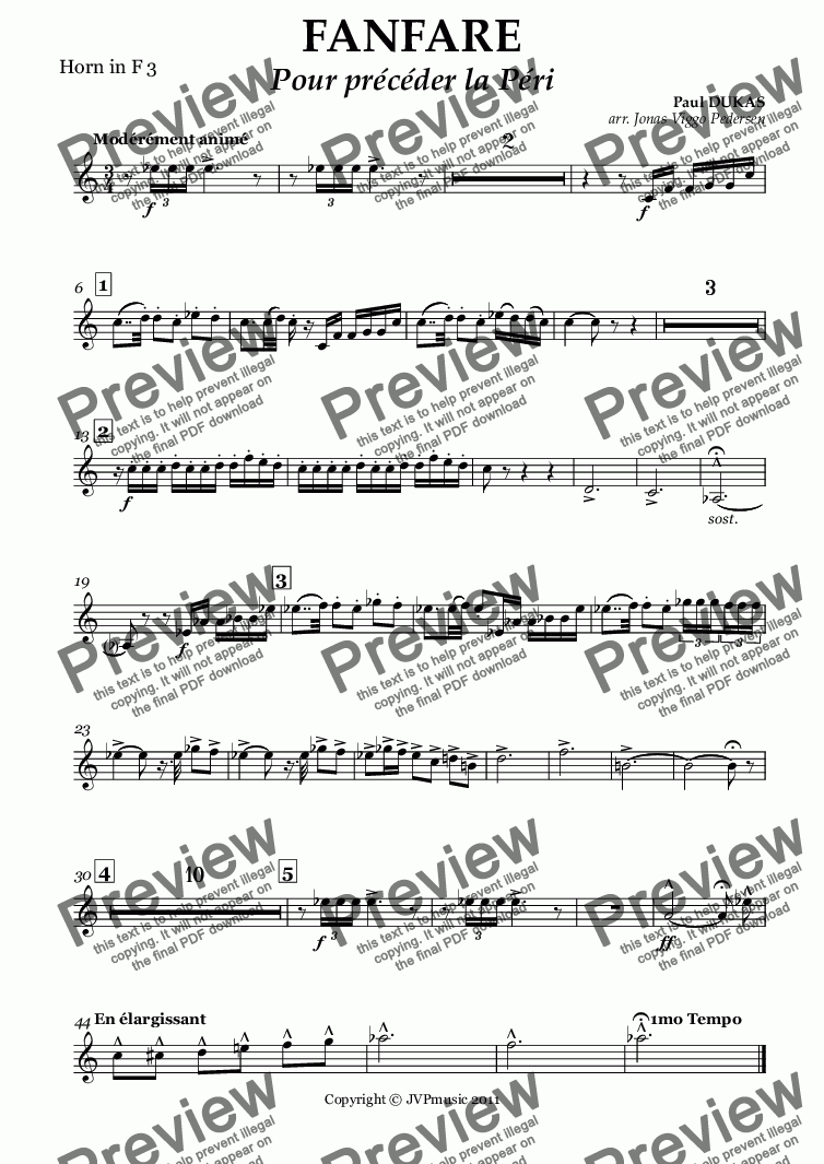 page one of the Horn in F 3 part from FANFARE  Pour précéder la Péri