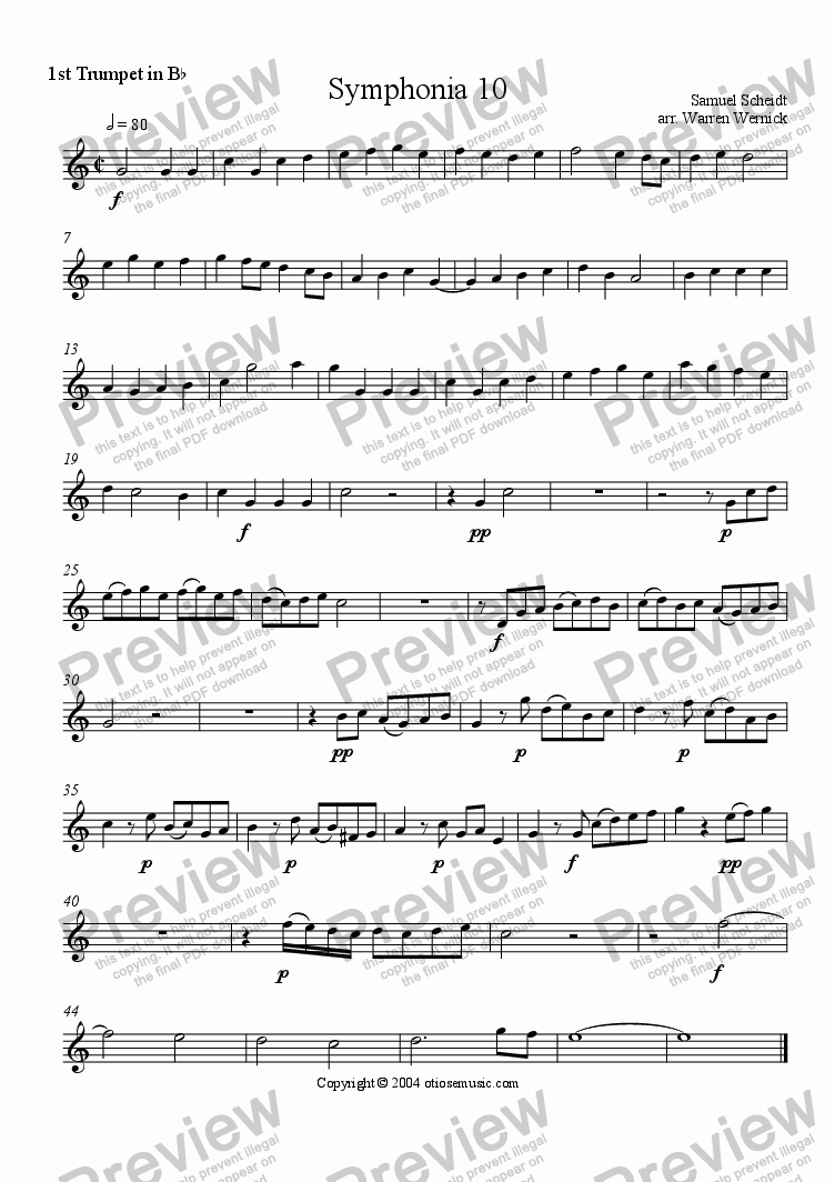 page one of the 1. Trumpet 1 Symphonia 10 part from Symphonia 10
