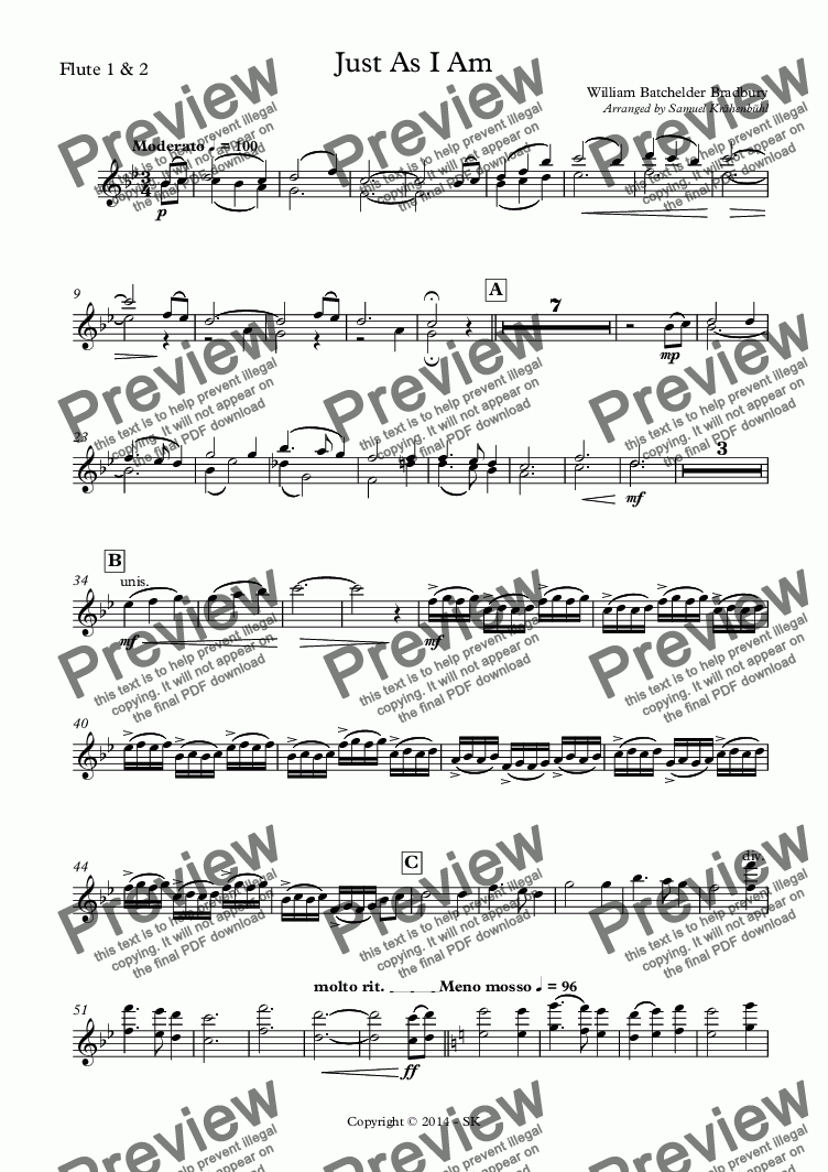 page one of the Flute 1 & 2 part from Just As I Am
