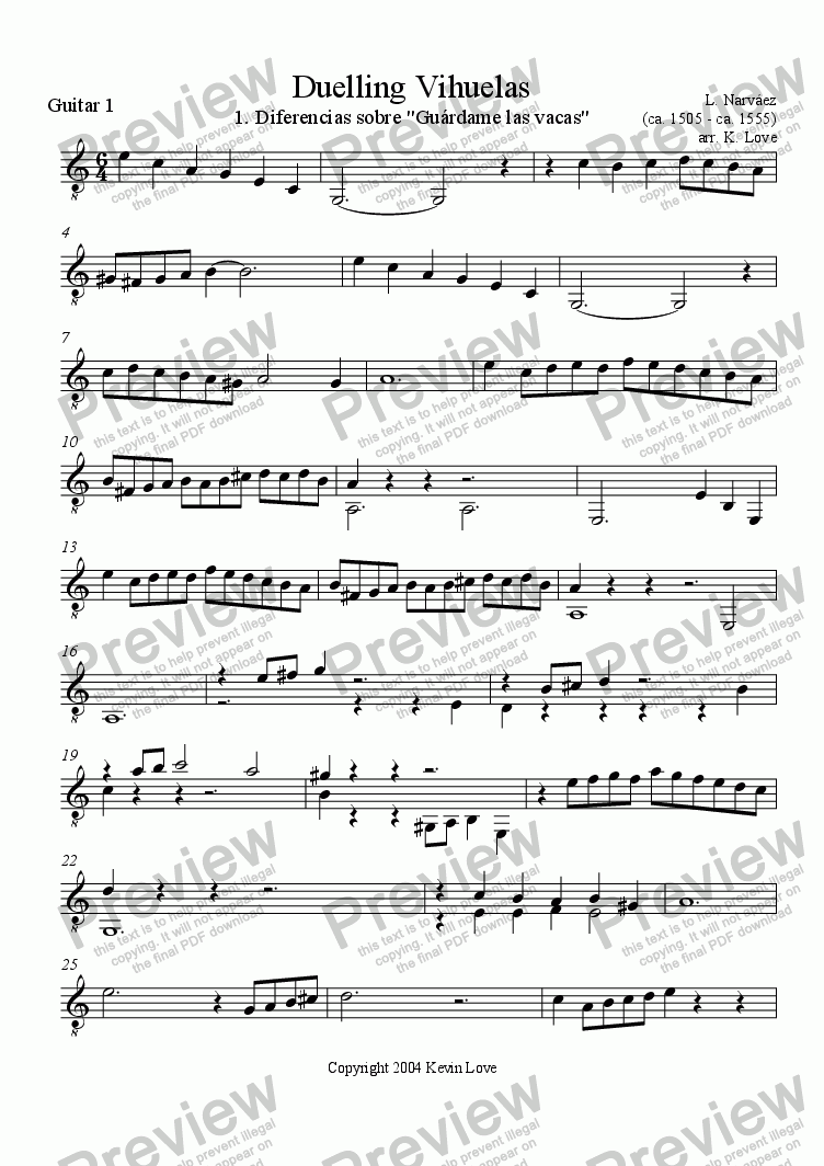 page one of the Guitar 1 part from Duelling Vihuelas 1 - 3