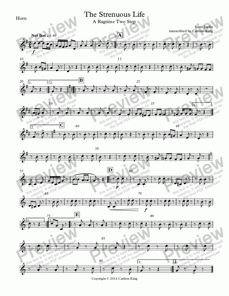 page one of the Horn part from The Strenuous Life: A Ragtime Two Step (10-piece)
