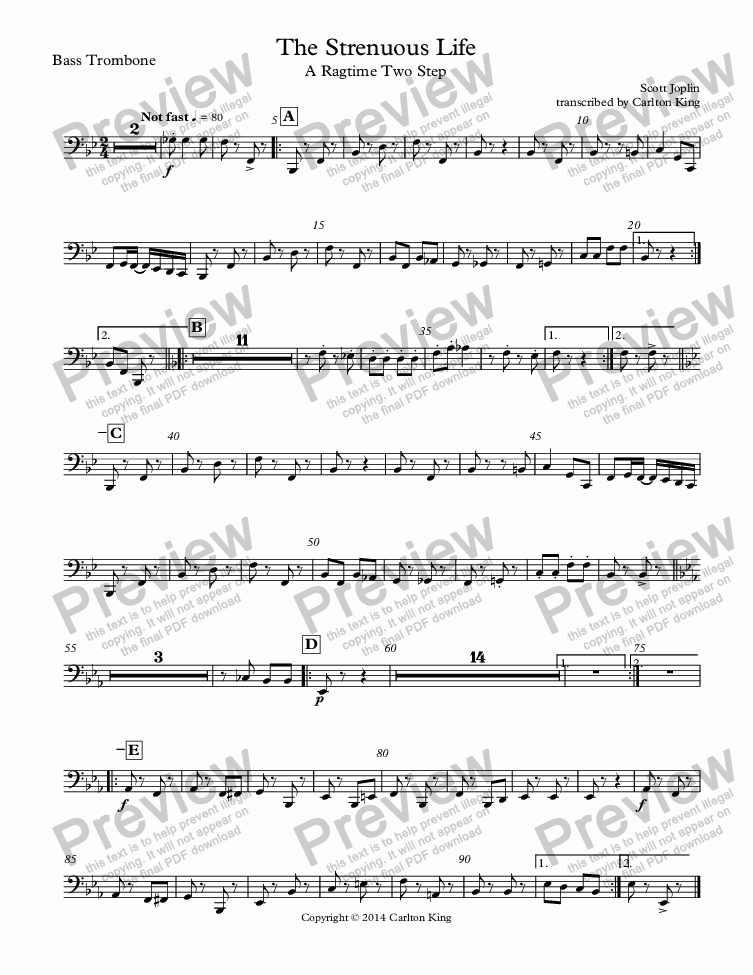 page one of the Bass Trombone part from The Strenuous Life: A Ragtime Two Step (10-piece)