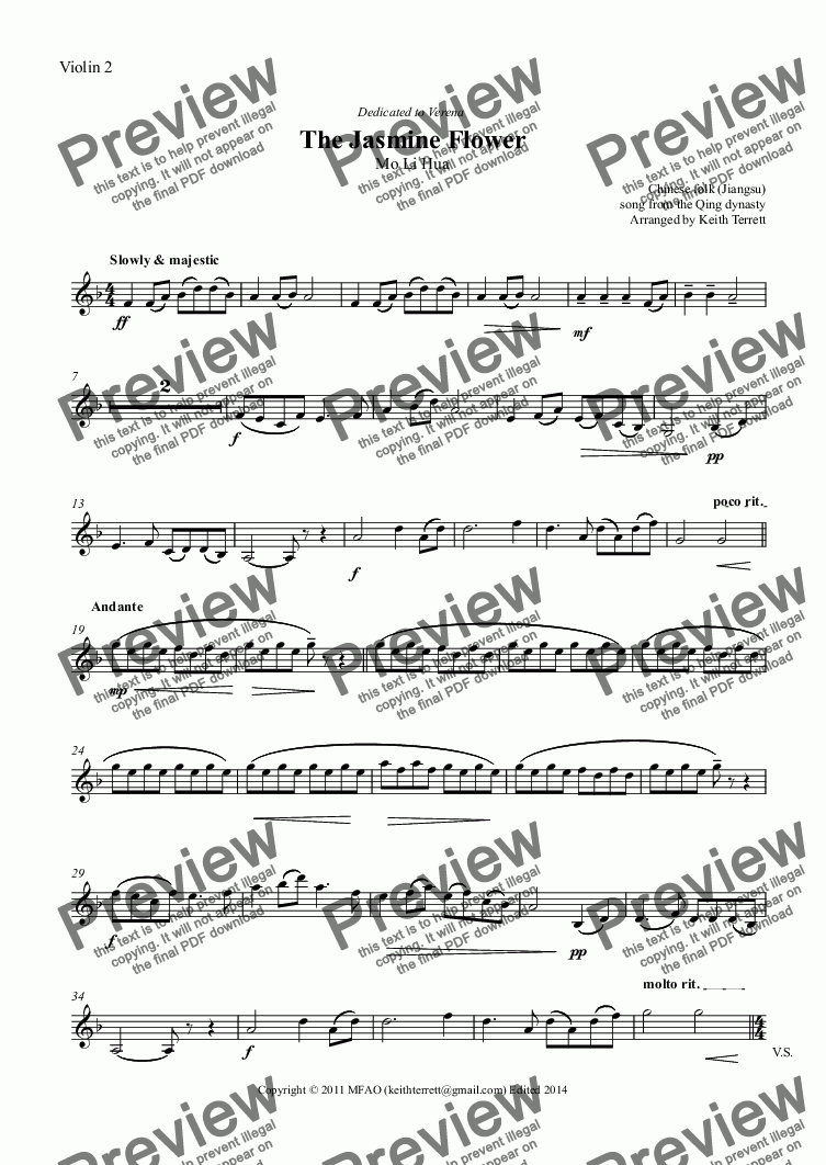 Violin 2 Part From Jasmine Flower The For String Orchestra Pdf