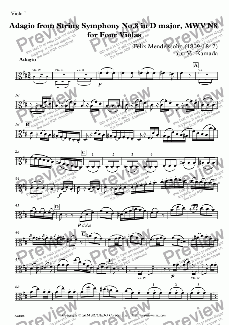 page one of the Viola I part from Adagio from String Symphony No.8 in D major, MWV N8  for Four Violas