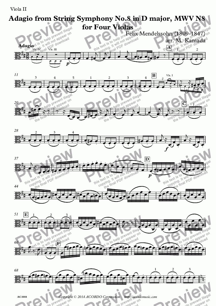 page one of the Viola II part from Adagio from String Symphony No.8 in D major, MWV N8  for Four Violas