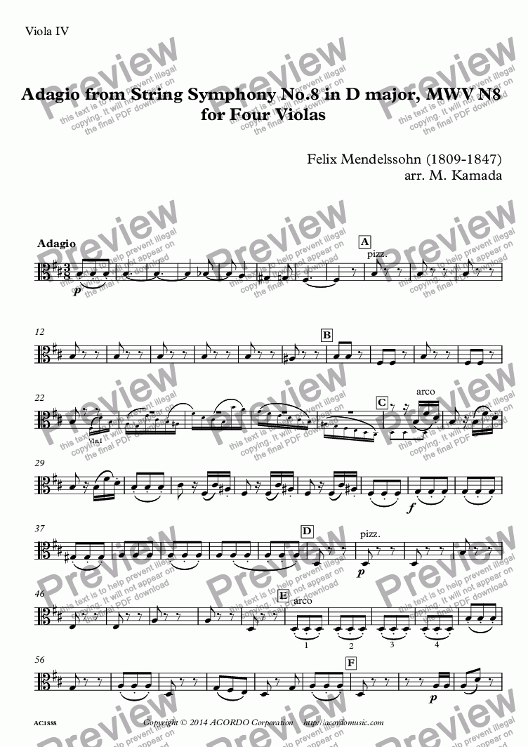 page one of the Viola IV part from Adagio from String Symphony No.8 in D major, MWV N8  for Four Violas