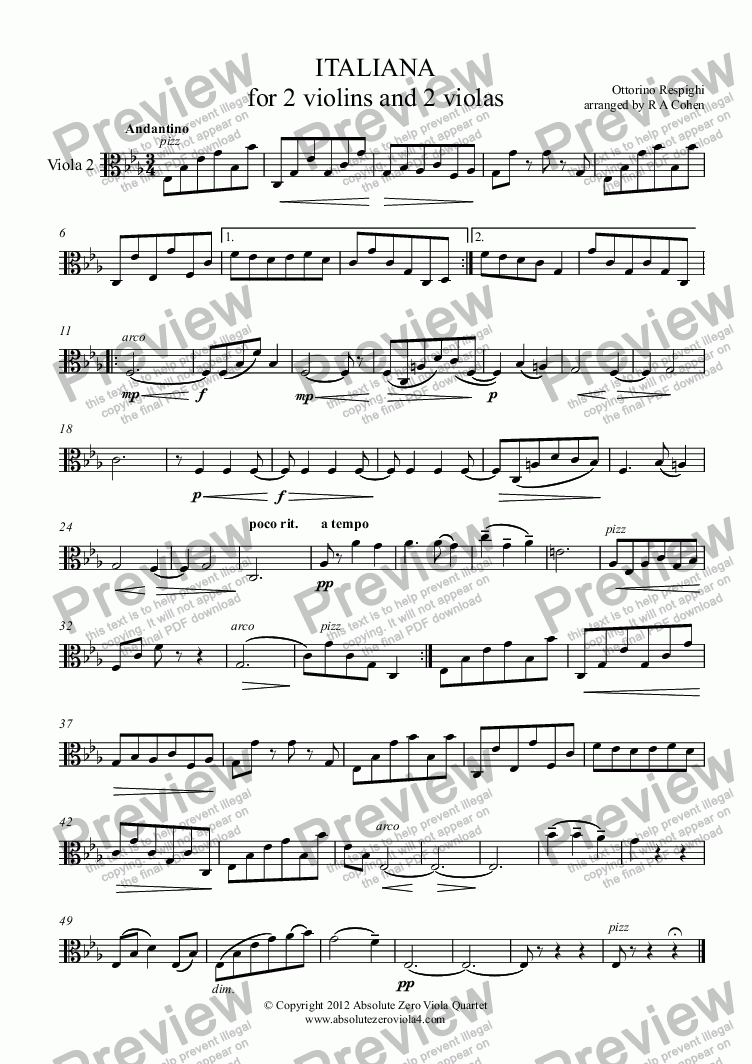 page one of the Viola 2 part from Respighi - ITALIANA  - for 2 violins and 2 violas