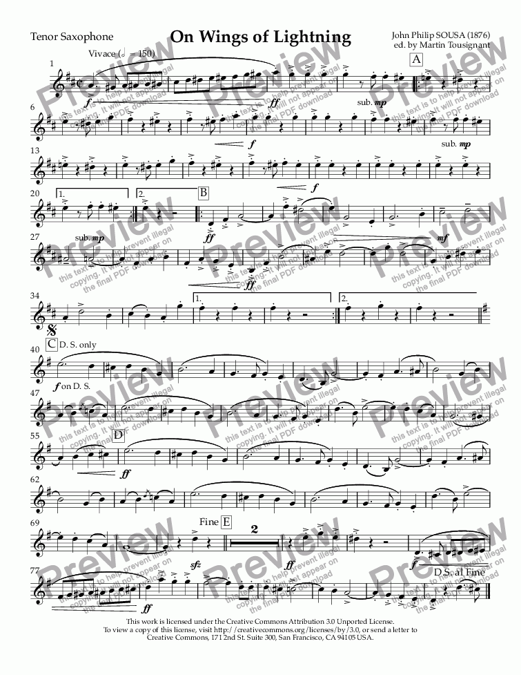 page one of the Tenor Saxophone part from On Wings of Lightning