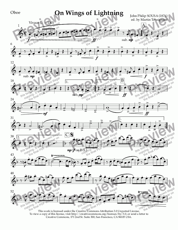 page one of the Oboe part from On Wings of Lightning