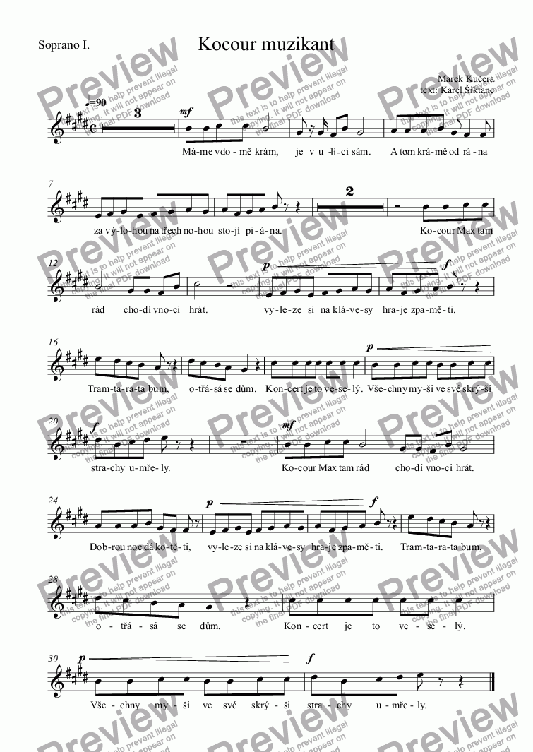 page one of the Soprano I. part from Kocour muzikant