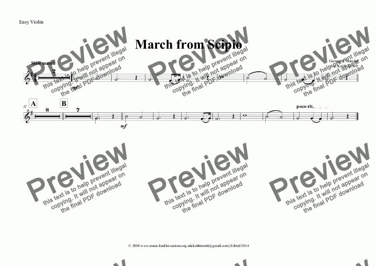 page one of the Easy Violin part from March from Scipio for String Orchestra, optional KB & Percussion